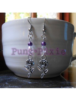 chain maille and silver bead earring